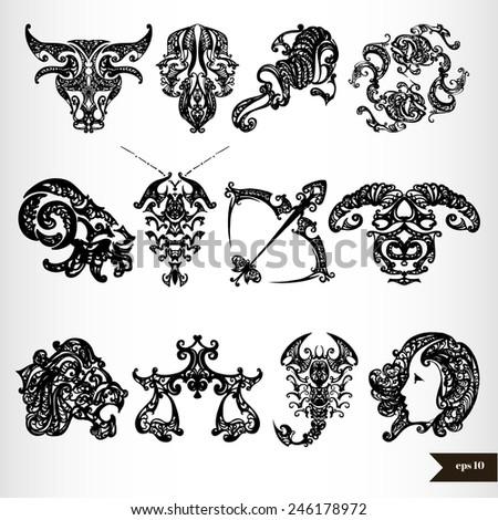 Black zodiac horoscope signs - stock vector