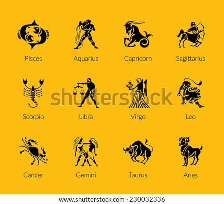 Black Zodiac Symbols, signs, shape, icon on gold background - stock vector