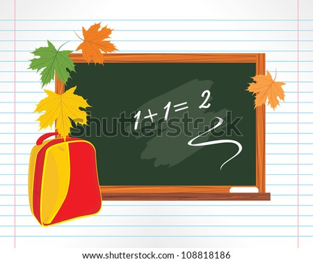 Blackboard and school backpack with maple leaves. Vector - stock vector