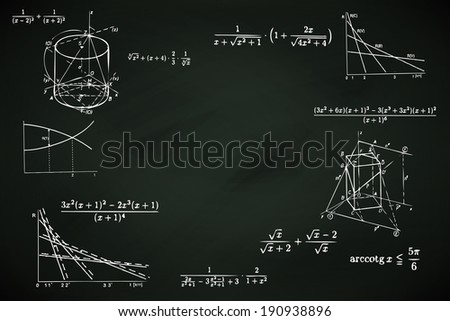 blackboard background with mathematics writings vector - stock vector