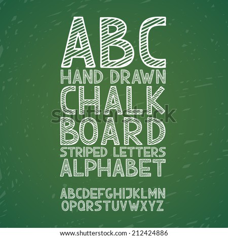 Blackboard chalkboard Chalk hand draw doodle abc, alphabet grunge scratch type font vector illustration - stock vector