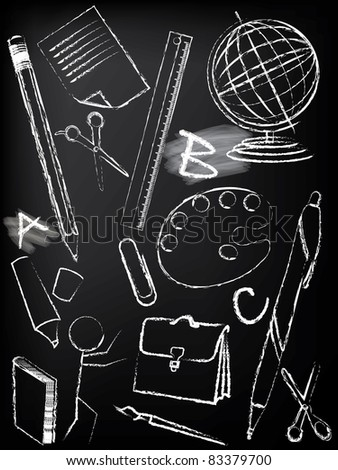 Blackboard design with children sketches - stock vector