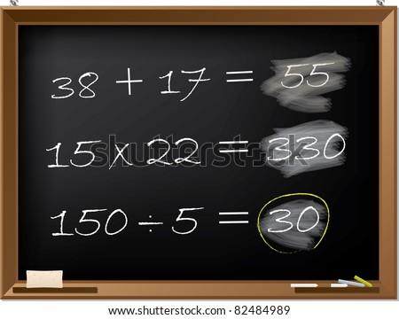 Blackboard design with math exercises - stock vector