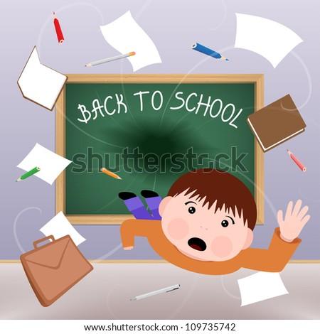 Blackboard is devouring little schoolboy. Vector eps10 illustration - stock vector