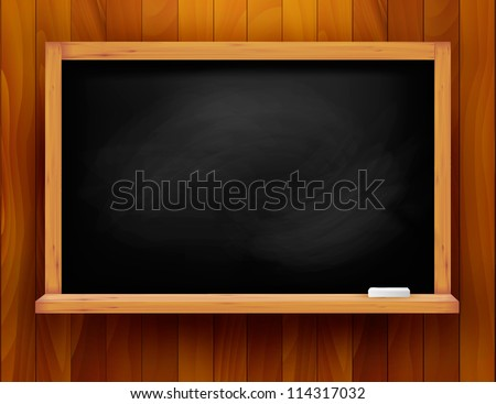 Blackboard on wooden background. Vector illustration. - stock vector