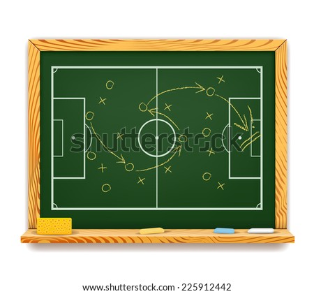Blackboard showing a schematic game plan for football with an overhead view of the field showing players positions and the trajectory of the ball with arrows