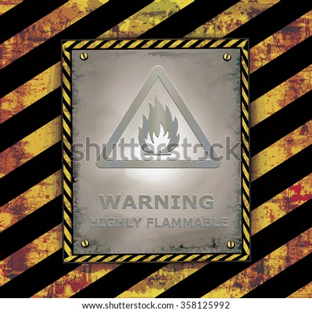 blackboard sign caution banner warning highly flammable vector - stock vector