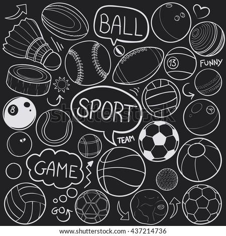 Blackboard Sport Balls Doodle Icons Hand Made - stock vector