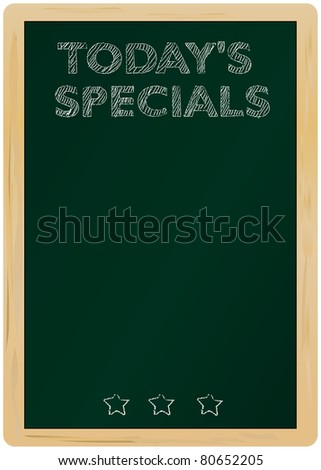blackboard w. Today's Specials Message handwritten with chalk - stock vector
