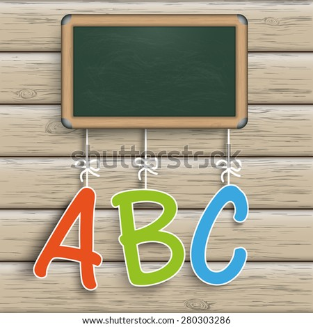 Blackboard with ABC on the wooden background. Eps 10 vector file. - stock vector