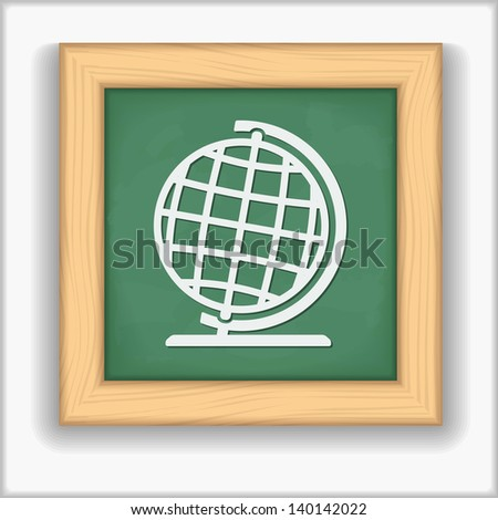 Blackboard with icon of a globe, vector eps10 illustration - stock vector