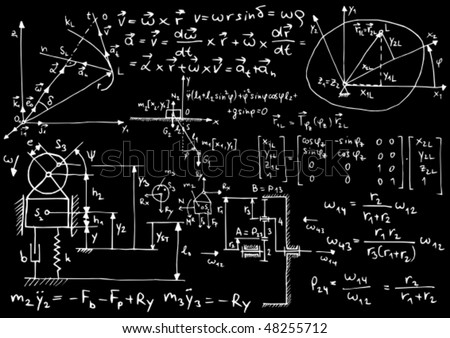 Blackboard with mechanical sketches and formulas - vector illustration - stock vector