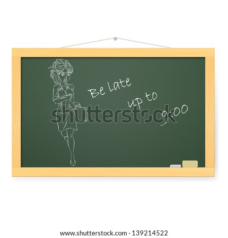 Blackboard with running Business woman. Illustration on white - stock vector