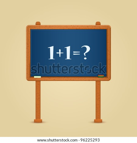 Blackboard with Simple 1 + 1 = ? Equation Written by White Chalk. Vector Illustration - stock vector
