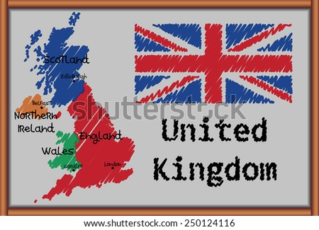 Blackboard with the Map and Flag of United Kingdom - stock vector