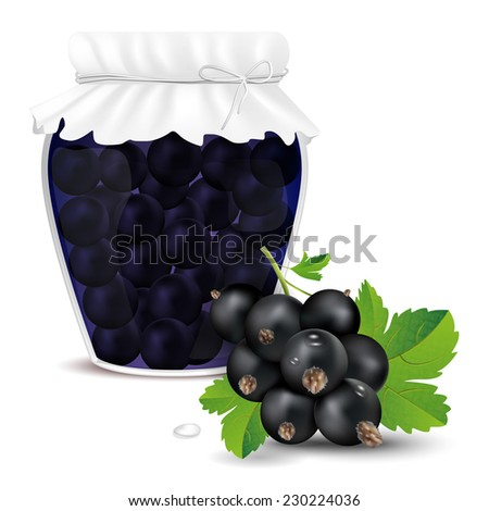 Blackcurrant compote in a jar and fresh blackcurrant - isolated on white background. Vector illustration. - stock vector