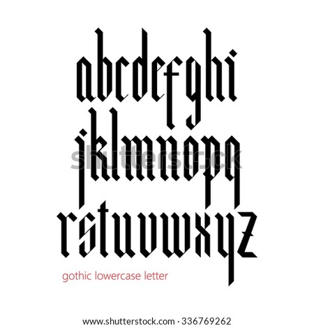 Blackletter modern gothic font. All lowercase letters - stock vector