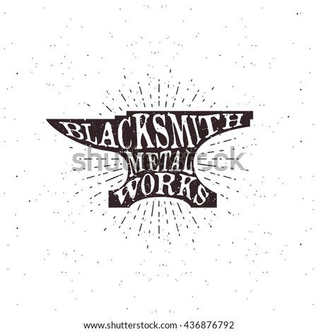 Blacksmith typography, lettering inside the anvil. Vector illustration - stock vector
