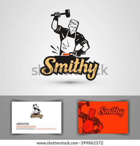 blacksmith vector logo. forge or forging icon - stock vector