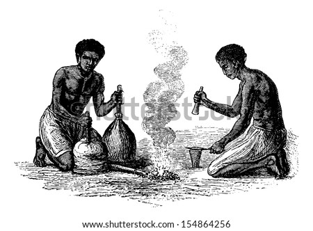 Blacksmiths of Caquingue in Angola in Southern Africa, engraving based on the English edition, vintage illustration. Le Tour du Monde, Travel Journal, 1881 - stock vector
