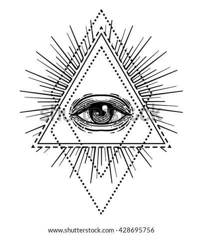 Blackwork tattoo flash. Eye of Providence. Masonic symbol. All seeing eye inside triangle pyramid. New World Order. Sacred geometry, religion, spirituality, occultism. Isolated vector illustration. - stock vector