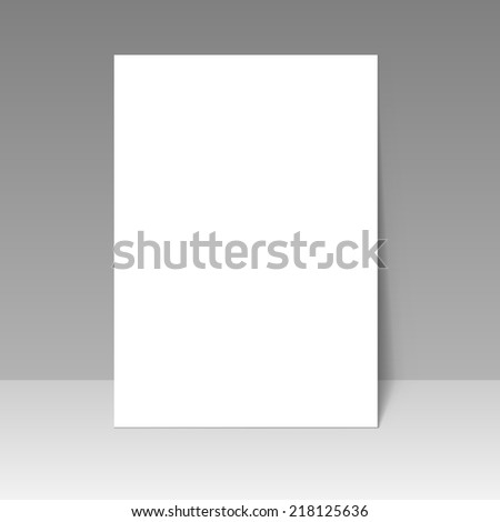 Blank A4 page template isolated on grey background. - stock vector