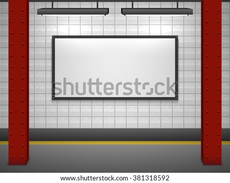 Blank advertising billboard at subway station vector template. - stock vector
