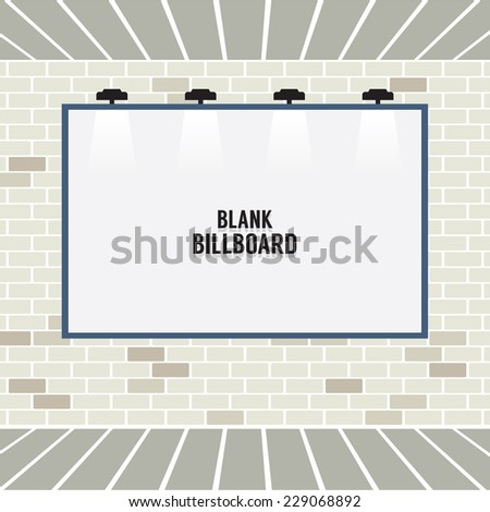 Blank Advertising Billboard On Brick Wall Vector Illustration - stock vector