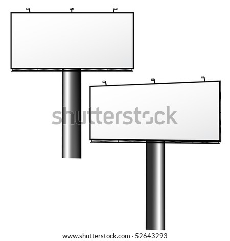 Blank Advertising Billboard, Two projection, isolated on white - stock vector