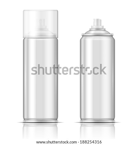 Blank aluminium spray can template with transparent cap for paint, hairspray, deodorant, . Packaging collection. - stock vector