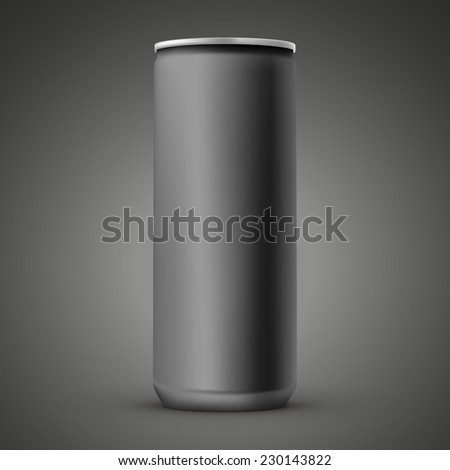 blank aluminum can template isolated over black background - stock vector