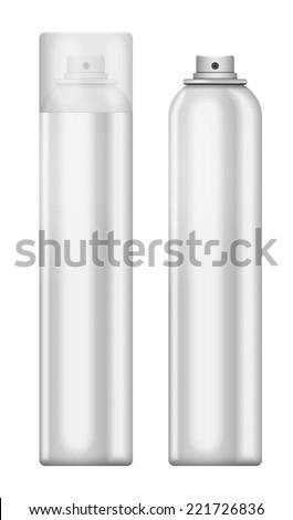 Blank aluminum spray can isolated on white background. Template bottle spray for design. - stock vector