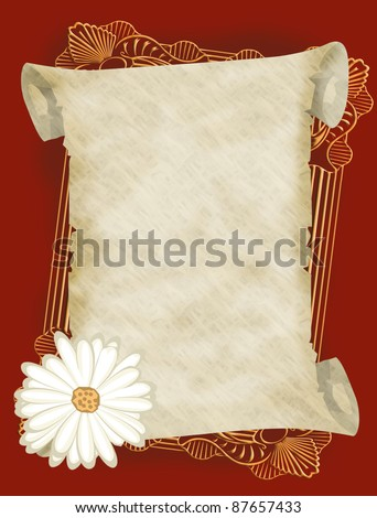 Blank ancient parchment scroll illustration on red background - stock vector