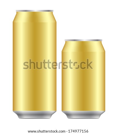 blank 330 and 500 ml. aluminium can use for beer, lager, alcohol, softdrink, soda, lemonade, cola, enegydrink, juice, water etc. - stock vector