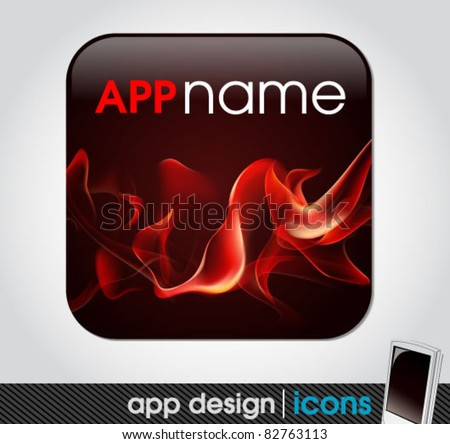 blank app icon for mobile devices with fire background - stock vector
