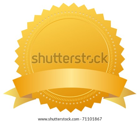 Blank award medal with ribbon - stock vector