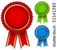 Blank award ribbon rosettes in three colors isolated on white. - stock photo