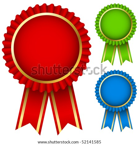Blank award ribbon rosettes in three colors isolated on white. - stock vector