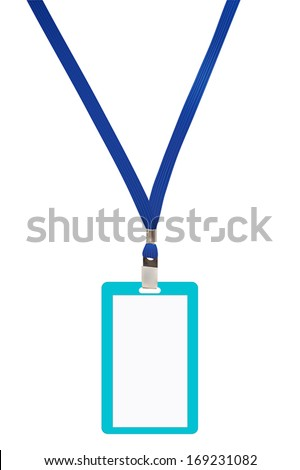 Blank badge with blue neckband. Vector illustration - stock vector