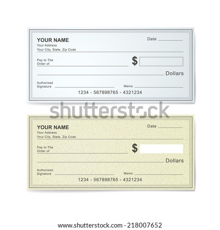 blank bank check template isolated on white - stock vector
