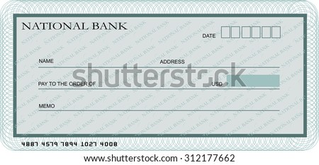 Blank bank cheque template