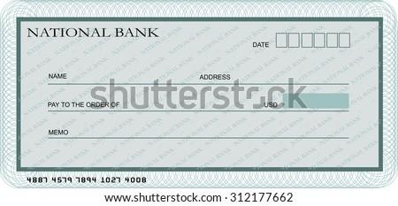 Blank bank cheque template - stock vector