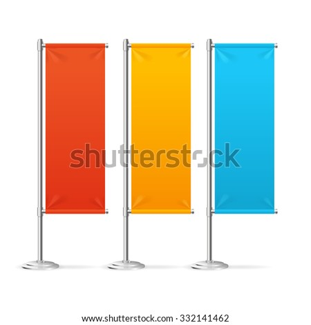 Blank Banner Flags Colorful Set For Designers. Vector illustration - stock vector