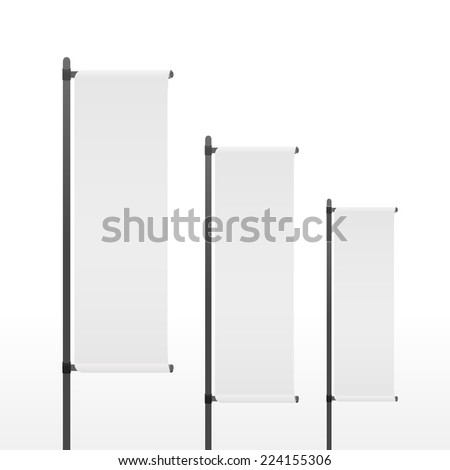 blank banner flags set isolated on white background - stock vector