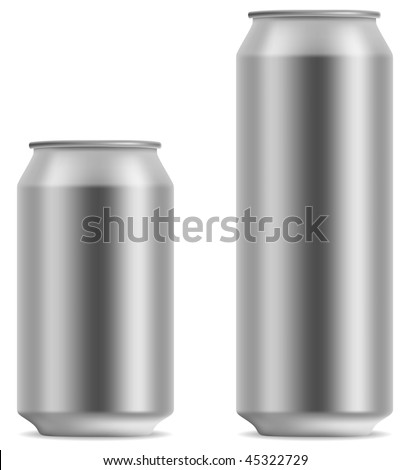 Blank beer can in 2 variants 330 and 500 ml isolated on white background. - stock vector