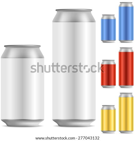 Blank beer of soft drink aluminum can vector template with color variants. - stock vector