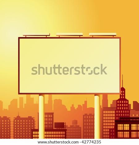 blank billboard over the city - stock vector