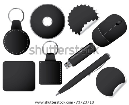 Blank Black Business Promotional Item Collection EPS 8 vector, grouped for easy editing. No open shapes or paths. - stock vector