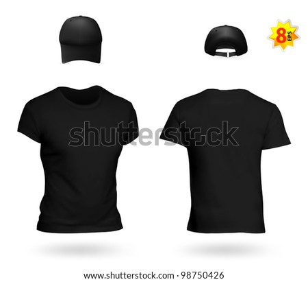 Blank black uniform template set: t-shirt and baseball cap. - stock vector