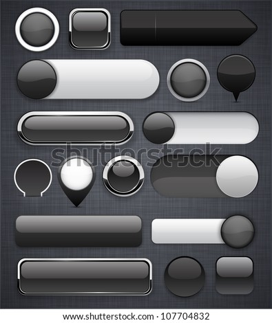 Blank black web buttons for website or app. Vector eps10. - stock vector
